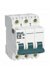 Автоматический выключатель DEKraft 11076DEK 3Р 6А C ВА-101 4,5кА