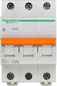 Автоматический выключатель Домовой 11225 ВА63 3П 25A C 4,5 кА