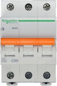 Автоматический выключатель Домовой 11228 ВА63 3П 50A C 4,5 кА