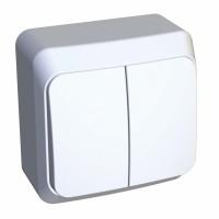 Выключатель Этюд BA10-002B 2-клавишный 10A открытая установка, белый