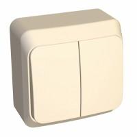 Выключатель Этюд BA10-002K 2-клавишный 10A открытая установка, кремовый