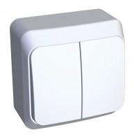 Выключатель Этюд BA10-006B 2-клавишный с/инд. 10A открытая установка, белый