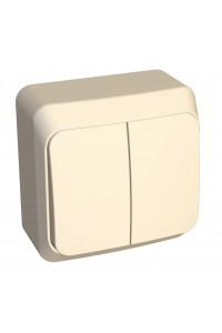 Выключатель Этюд BA10-006K 2-клавишный с/инд. 10A открытая установка, кремовый