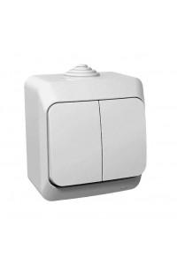 Выключатель Этюд BA10-042B 2-клавишный IP44 10A открытая установка, белый