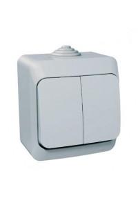 Выключатель Этюд BA10-042C 2-клавишный IP44 10A открытая установка, серый