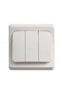Выключатель Этюд BC10-003B 3-клавишный 10A скрытая установка, белый