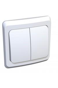 Выключатель Этюд BC10-006B 2-клавишный с/инд. 10A скрытая установка, белый