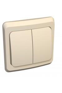Выключатель Этюд BC10-006K 2-клавишный с/инд. 10A скрытая установка, кремовый