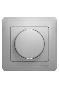Диммер поворотный Glossa GSL000334 300ВА клавишный с рамкой, алюминий