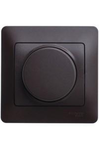 Диммер поворотный Glossa GSL000834 300ВА клавишный с рамкой, шоколад