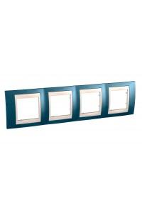 Рамка Unica Хамелеон MGU6.008.554 4-постовая горизонтальная, голубой лед/бежевый