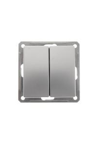 Переключатель W59 VS610-256-5-86 2-клавишный 10A, мат.хром