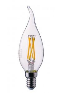 Филаментная лампа диммируемая V-TAC 4 ВТ, 400LM, пламя свечи, Е14, 3000К