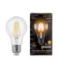 Светодиодная лампа Gauss LED Filament A60 E27 6W 600lm 2700К 1/10/40