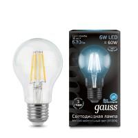 Светодиодная лампа Gauss LED Filament A60 E27 6W 630lm 4100К 1/10/40