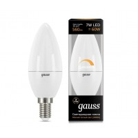 Светодиодная лампа Gauss LED С37-dim E14 7W 560lm 3000К Диммируемая 1/10/100