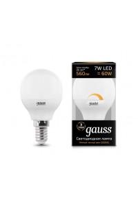 Светодиодная лампа Gauss LED G45-dim E14 7W 560lm 3000К Диммируемая 1/10/100