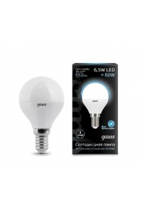 Светодиодная лампа Gauss LED G45 E14 6.5W 550lm 4100K 1/10/50