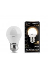 Светодиодная лампа Gauss LED G45 E27 6.5W 520lm 3000K 1/10/50