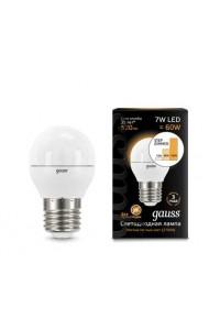 Светодиодная лампа Gauss LED G45 E27 7W 520lm 3000K step dimmable 1/10/100