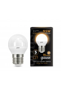 Светодиодная лампа Gauss LED G45 E27 9.5W 890lm 3000K 1/10/50