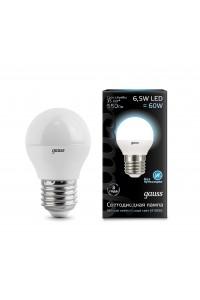 Светодиодная лампа Gauss LED G45 E27 6.5W 550lm 4100K 1/10/100