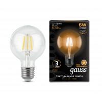 Светодиодная лампа Gauss LED Filament G95 E27 6W 630lm 2700K 1/20