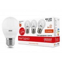 Светодиодная лампа Gauss LED Elementary G45 6W E27 2700K 1/40 (3 лампы в упаковке)